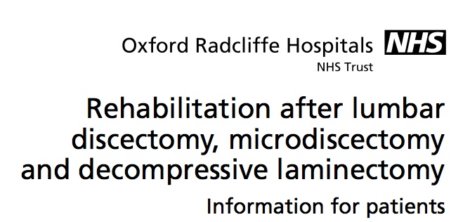 NHS – Rehab After Lumbar Discectomy – Discectomy Pain